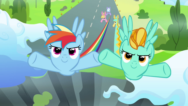 File:Rainbow Dash and Lightning Dust flying S3E07.png