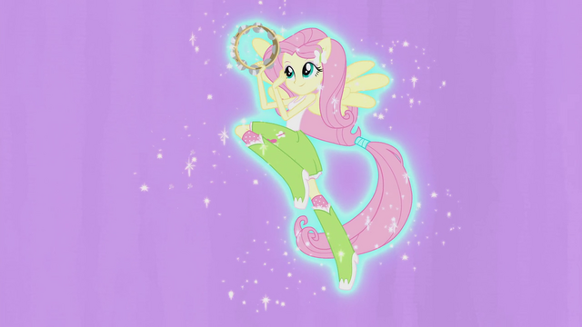 File:Fluttershy hovering with tambourine EG2.png