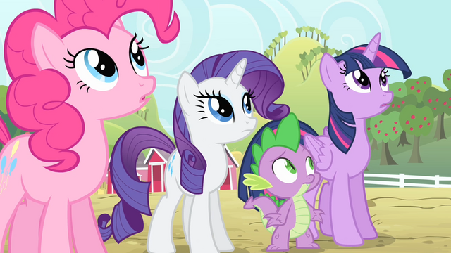 File:Pinkie Pie, Rarity, Spike and Twilight looks up S4E07.png
