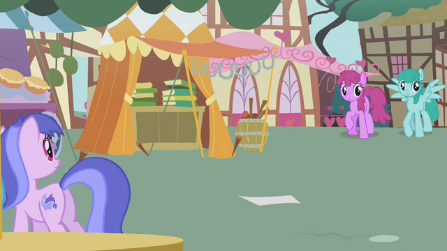 File:Berryshine, Sprinkle Medley, and Sea Swirl watch Fluttershy approach S1E05.png