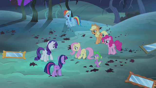 File:Fluttershy's friends cheering S4E07.png