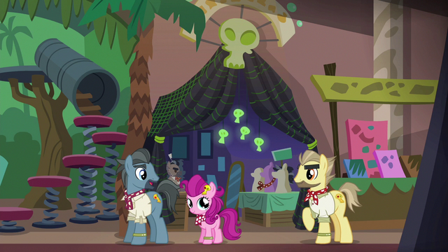 File:Ponies cosplaying as Dr. Caballeron S6E13.png
