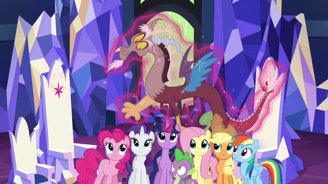 File:Discord levitated down to Mane 6 S4E26.png