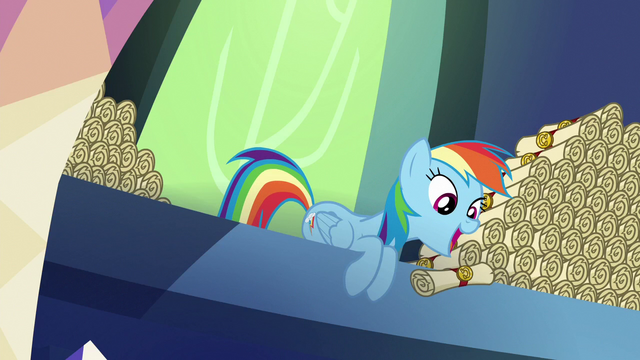 File:Rainbow Dash dropping scrolls on Spike S6E15.png