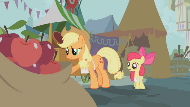 File:Applejack after giving away all the apples she had brought from the farm to sell S1E12.png