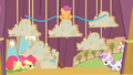 Apple Bloom and Sweetie Belle walking onstage tired S4E05.png
