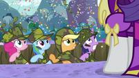 Pinkie Pie Applejack Rainbow Twilight in trench looking at Rarity S2E21