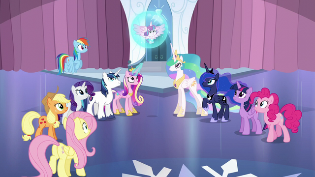 File:Mane Six and friends gather around Flurry Heart S6E1.png
