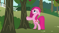 Pinkie Pie shaking a tree S03E13