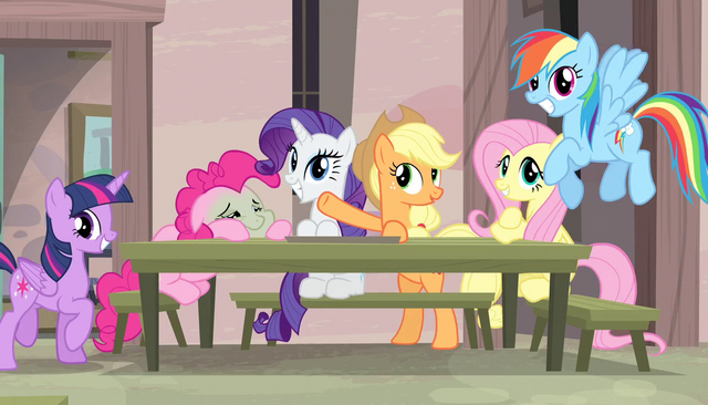 File:Mane Six putting on act for watching ponies S5E1.png