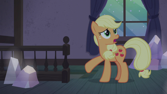 "File:Applejack ""never had a real Hearth's Warmin'!"" S5E20.png"