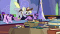 Derpy flies in through the castle window S6E25.png
