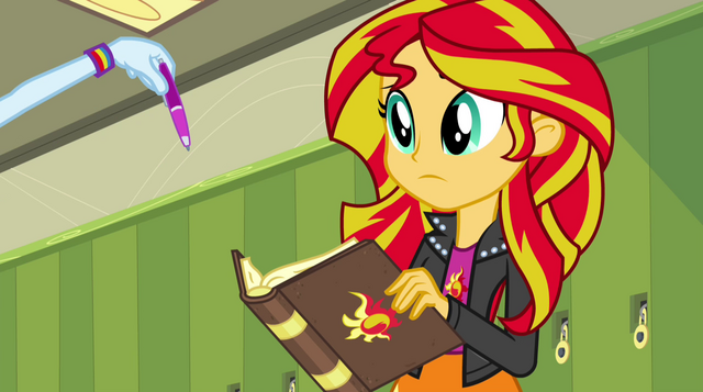 File:Sunset looking at Rainbow Dash's pen EG2.png