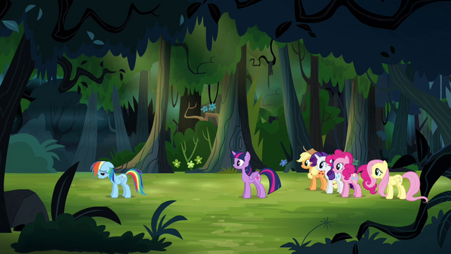 """File:Main ponies """"are you with us or not?"""" S4E04.png"""