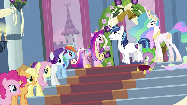 File:Twilight's friends, Spike, Cadance and Shining Armor S2E25.png