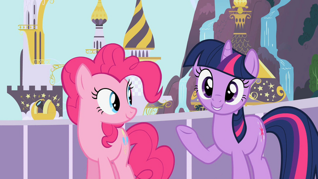 File:Pinkie Pie and Twilight happy S2E9.png