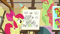 Apple Bloom looks at the other artist's painting S6E4