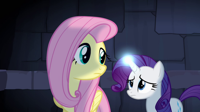File:Fluttershy and Rarity trapped S4E03.png