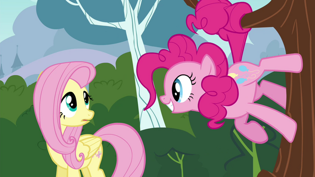 File:Pinkie Pie standing on a tree smiling at Fluttershy S4E16.png