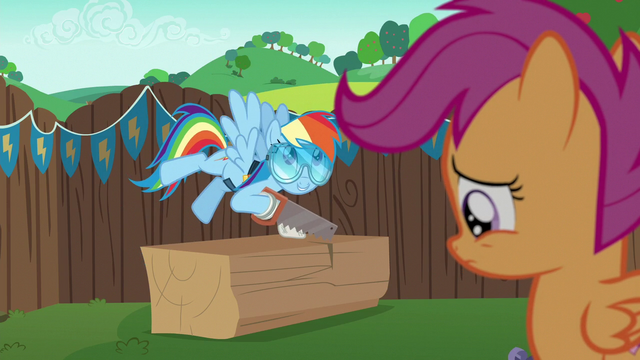 File:Rainbow excited; Scootaloo depressed S6E14.png