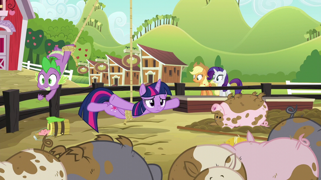 File:Twilight dangling over the muddy pigpen S6E10.png