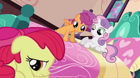 Sweetie Belle and Scootaloo looking at Apple Bloom S3E4