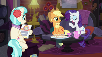 Applejack and Rarity in Coco's home S5E16