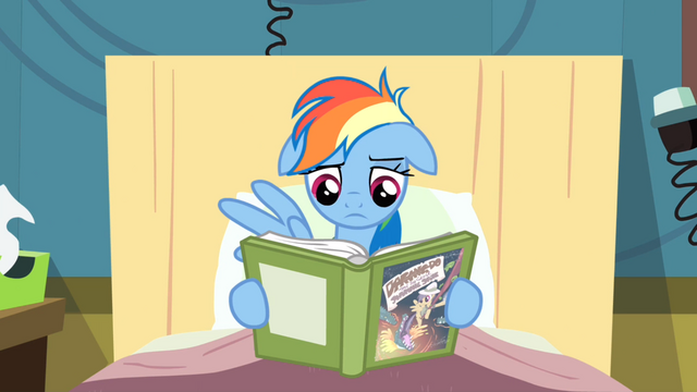 File:Rainbow Dash reading book with no excitement S2E16.png
