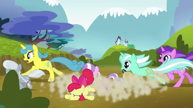 File:Ponies knock Apple Bloom over as they run S5E4.png