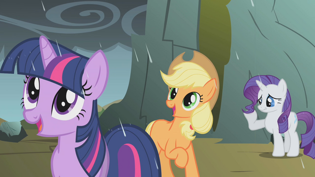 File:Twilight, AJ, and Rarity rained on by dragon tears S1E07.png