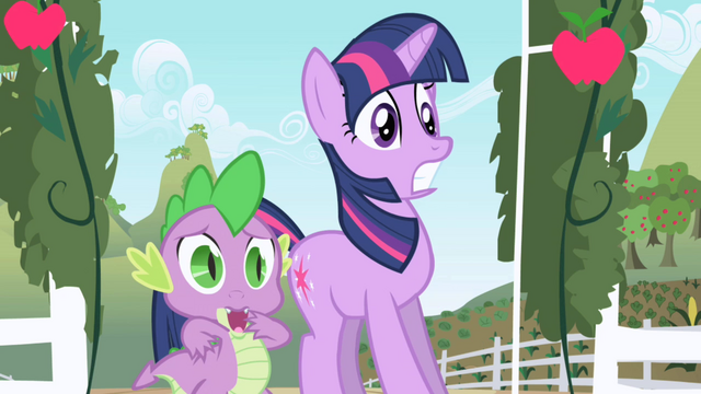 File:Twilight and Spike hear Applejack for the first time S01E01.png