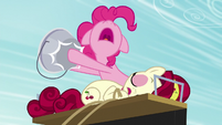 Pinkie hits the bucket to wake up Cherry S5E11