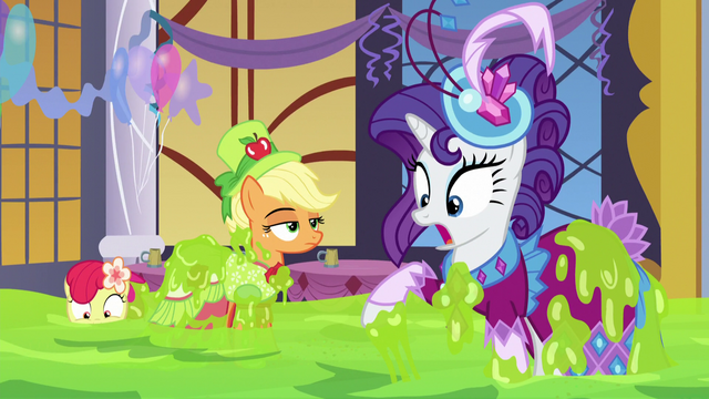 File:AJ, Apple Bloom, and Rarity covered in slime S5E7.png