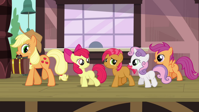 File:CMC, Applejack and Babs leaving the trainstation S3E04.png