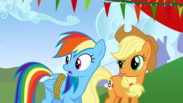 File:Rainbow Dash and Applejack surprised S1E13.png