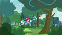 Rainbow Dash jumps into another bush EG3