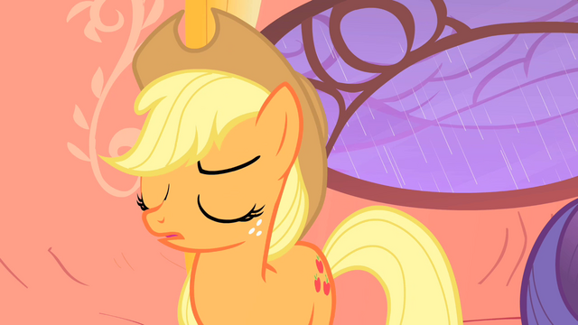 "File:Applejack dares Rarity ""lighten up and stop obsessin'"" S1E08.png"