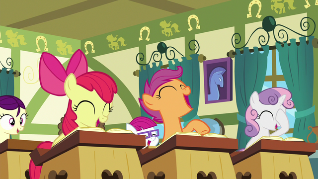 File:Class of foals laughing at Cheerilee S6E15.png