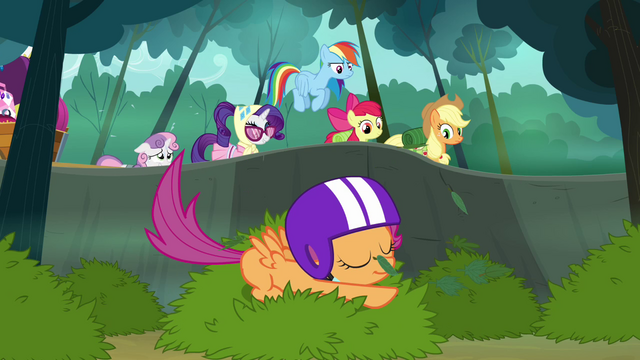 File:Scootaloo lands on the bush S3E06.png