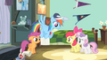 Apple Bloom and Sweetie Belle walking towards Scootaloo S4E05.png