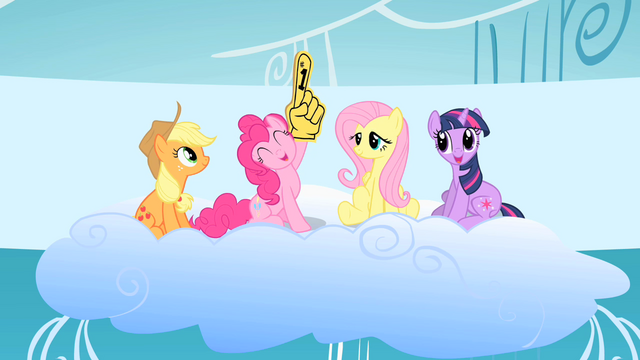 File:Pinkie waves foam finger at beginning of competition S1E16.png