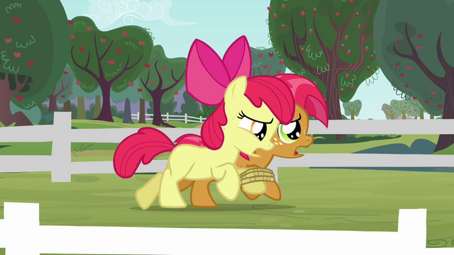 File:Apple Bloom and Babs sweating S3E08.png