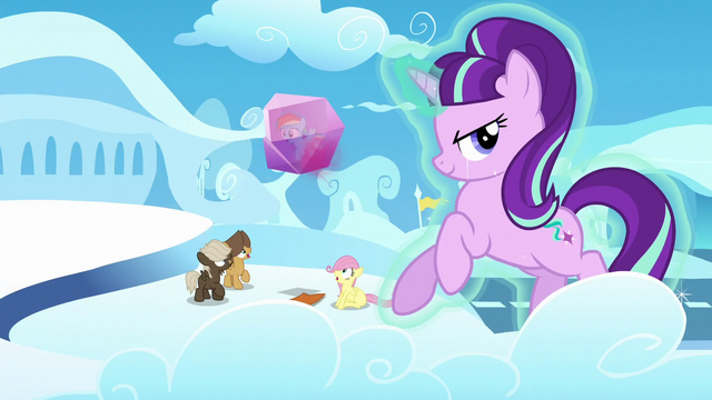 File:Fluttershy and bullies see Rainbow frozen in crystal block S5E26.png