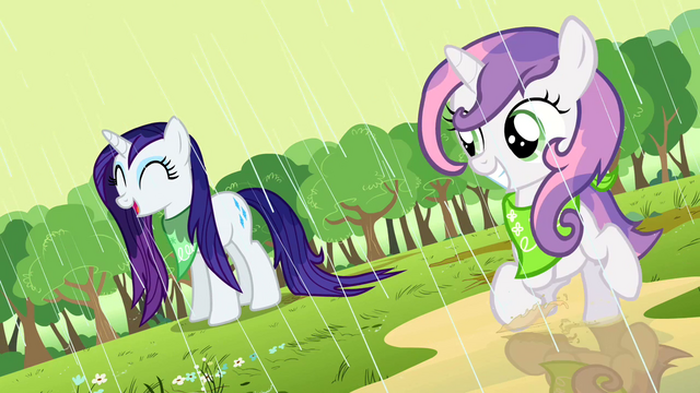 File:Rarity and Sweetie Belle playing in the rain S2E5.png