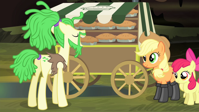 File:Pony in dreadlocks taking a pie S4E17.png