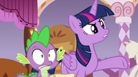 Twilight and Spike skeptical of Rarity's story S6E22