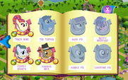Pony Tones, Pie family, and Betty Bouffant album art MLP mobile game