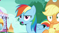 Rainbow Dash Changeling shoving Applejack off-screen S6E25