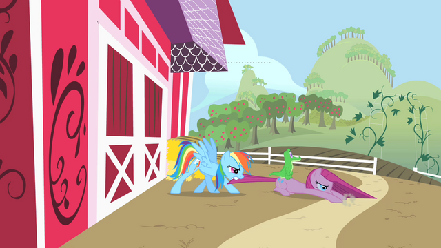 File:Rainbow Dash dragging Pinkie Pie by the tail S1E25.png