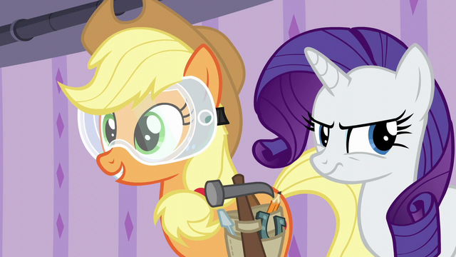 File:Applejack happy; Rarity frustrated S6E10.png